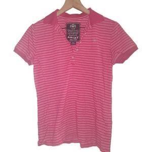 Ariat Womens Polo Shirt Striped Pink White Medium